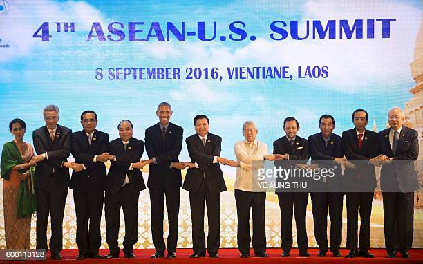 Myanmar's State Councellor and Foreign Minister Aung San Suu Kyi Singapore's Prime Minister Lee Hsien Loong Thailand's Prime Minister Prayut ChanOCha...