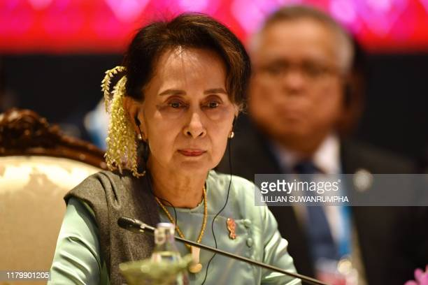 Myanmar's State Counsellor Aung San Suu Kyi attends the 22nd ASEANJapan Summit in Bangkok on November 4 on the sidelines of the 35th Association of...