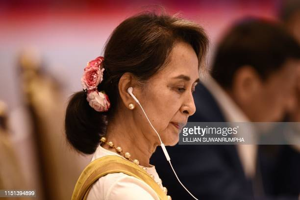 Myanmar's State Counsellor Aung San Suu Kyi attends the plenary session of the 34th Association of Southeast Asian Nations Summit in Bangkok on June...