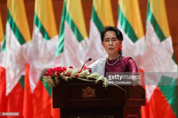 TOPSHOT Myanmar's State Counsellor Aung San Suu Kyi delivers a national address in Naypyidaw on September 19 2017 Aung San Suu Kyi said on September...