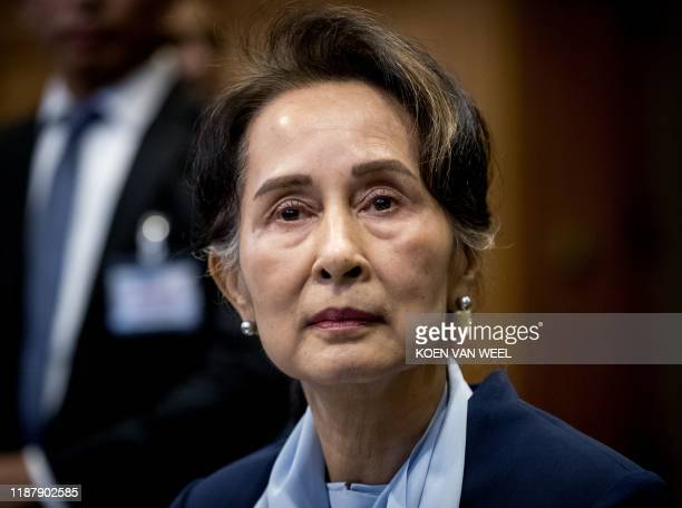 Myanmar's State Counsellor Aung San Suu Kyi looks on before the UN's International Court of Justice on December 11, 2019 in the Peace Palace of The...