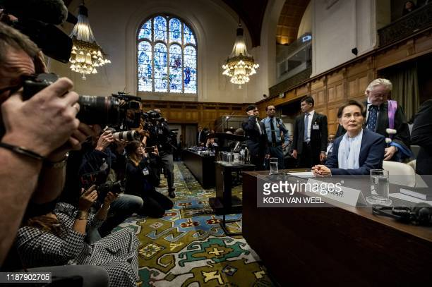 TOPSHOT Myanmar's State Counsellor Aung San Suu Kyi looks on before the UN's International Court of Justice on December 11 2019 in the Peace Palace...