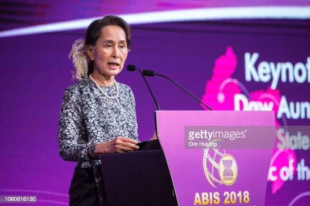 Myanmar's State Counsellor Aung San Suu Kyi speaks during the ASEAN Business and Investment Summit on the sidelines of the 33rd Association of...