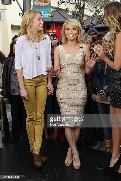 MyAnna Buring and Casey LaBow visit Extra at The Grove on November 14 2011 in Los Angeles California