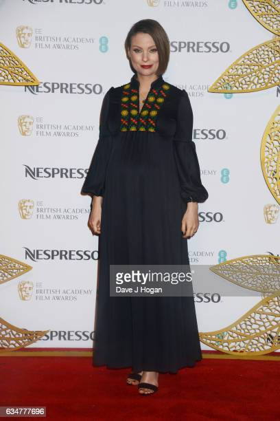 Myanna Buring attends the BAFTAS nominees party hosted by Nespresso at Kensington Palace on February 11 2017 in London England