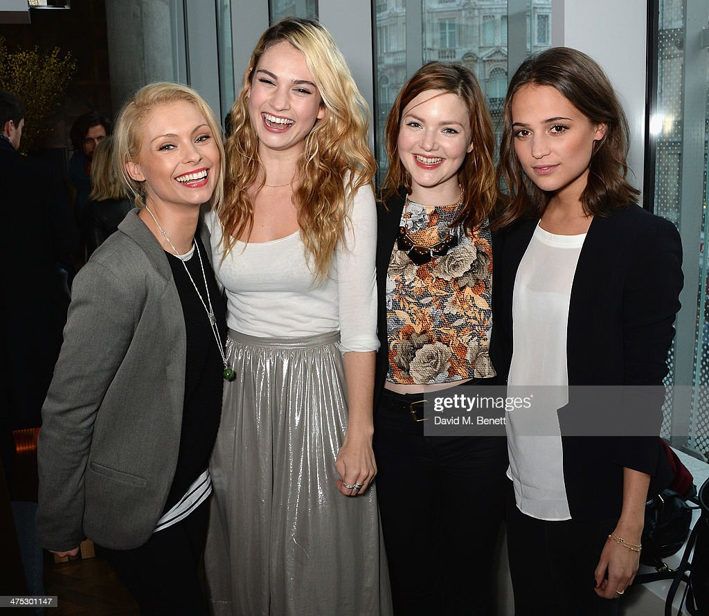 Myanna Buring, Lily James, Holliday Grainger and Alicia Vikander attend a VIP screening of Harvey Weinstein's 'Escape From Planet Earth' at The W Hotel on February 27, 2014 in London, England.