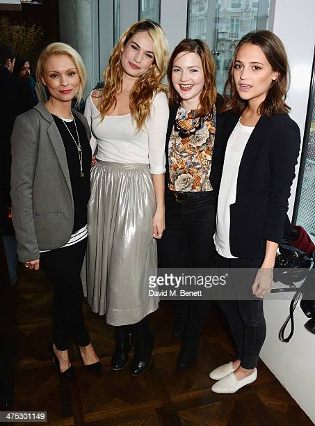 Myanna Buring Lily James Holliday Grainger and Alicia Vikander attend a VIP screening of Harvey Weinstein's Escape From Planet Earth at The W Hotel...