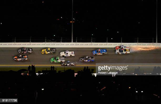 Myatt Snider driver of the Liberty Tax Ford and Austin Wayne Self driver of the DontMessWithTexas/AMTechSolutions Chev are involved in an ontrack...