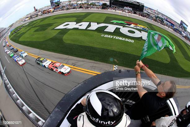 Myatt Snider, driver of the TaxSlayer Chevrolet, leads the field to the green flag to start the NASCAR Xfinity Series NASCAR Racing Experience 300 at...