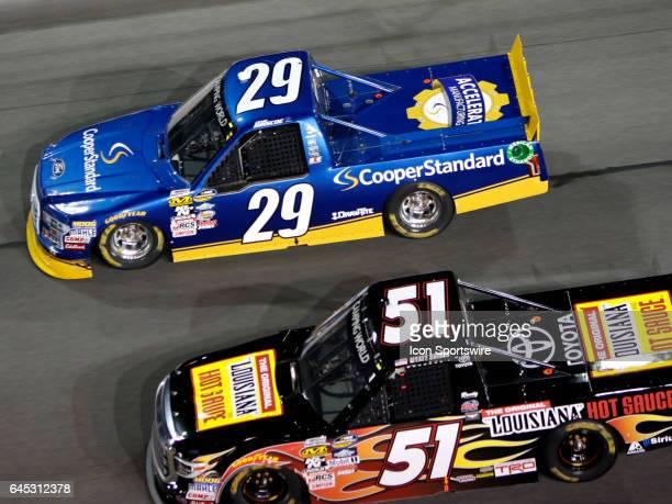 Myatt Snider Kyle Busch Motorsports Louisiana Hot Sauce Toyota Tundra and Chase Briscoe Brad Keselowski Racing Cooper Standard Ford F150 during the...