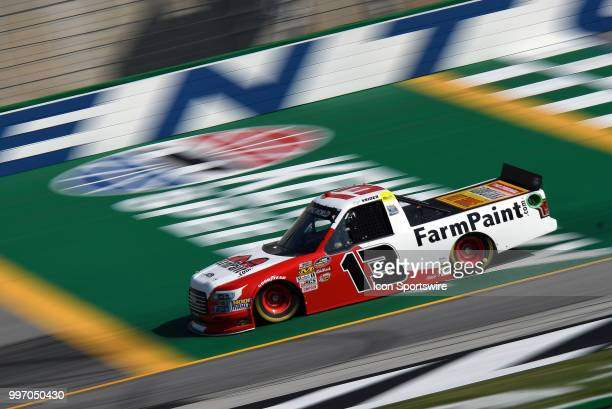 Myatt Snider ThorSport Racing Ford F150 crosses the start/finish line during practice for the NASCAR Camping World Truck Series Buckle Up In Your...