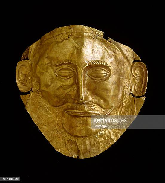 Funerary Mask of Agamemnon in gold foil embossing found at Mycenae dated in 1550 BC National Archaeological Museum Athens