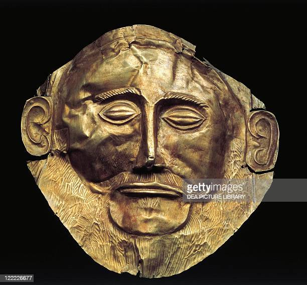 Mycenaean civilization 14th century bC Goldsmithery Gold funerary mask of an Achaean king known as Mask of Agamemnon From Mycenae Tomb V