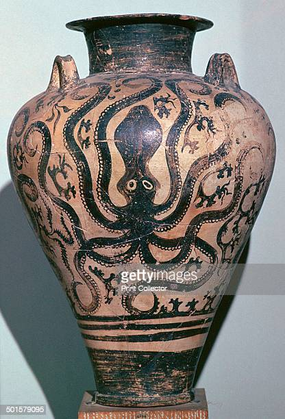 Mycenaen amphora with octopus design in palace style From Prosymna in Greece and in the National Archaeological Museum in Athens 16th century BC