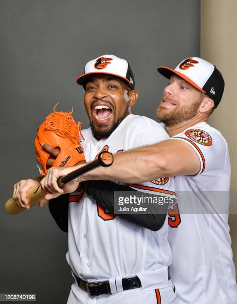 Mychal Givens and Chris Davis of the Baltimore Orioles pose during Photo Day at Ed Smith Stadium on February 18, 2020 in Sarasota, Florida.