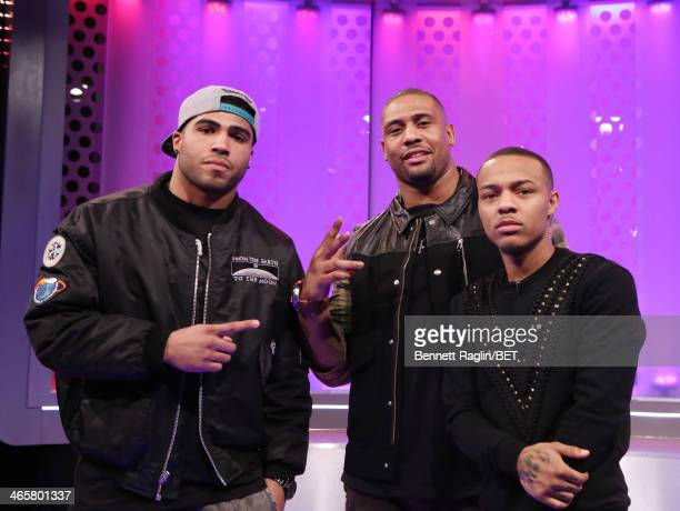 Mychal Kendricks LaMarr Woodley and Bow Wow attend 106 Park at BET studio on January 29 2014 in New York City