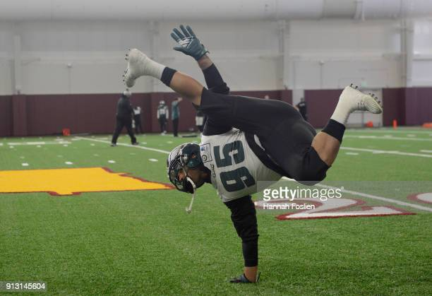 Mychal Kendricks of the Philadelphia Eagles dances during Super Bowl LII practice on February 1 2018 at the University of Minnesota in Minneapolis...