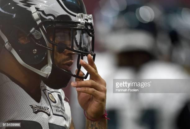 Mychal Kendricks of the Philadelphia Eagles looks on during Super Bowl LII practice on February 2 2018 at the University of Minnesota in Minneapolis...