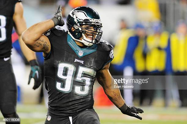 Mychal Kendricks of the Philadelphia Eagles reacts against the Seattle Seahawks in the first half of the game at Lincoln Financial Field on December...