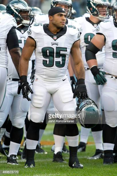 Mychal Kendricks of the Philadelphia Eagles warms up prior to a preseason game against the Chicago Bears at Soldier Field on August 8 2014 in Chicago...