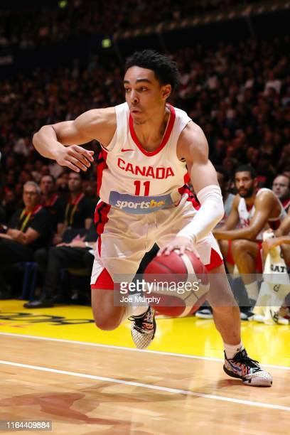 Mychal Mulder of Canada dribbles the ball during the game against USA on August 26 2019 at Qudos Bank Arena in Sydney Australia NOTE TO USER User...