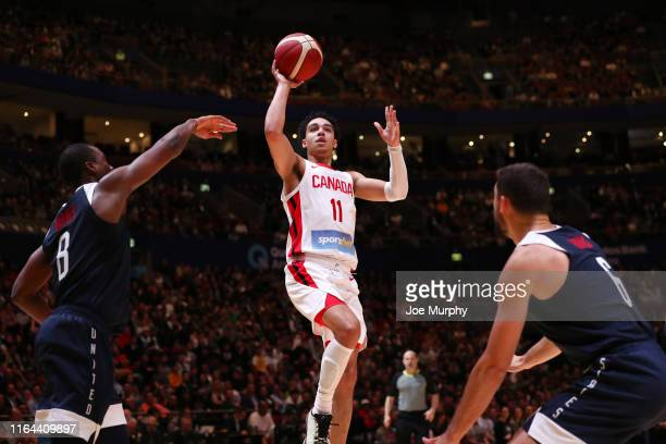 Mychal Mulder of Canada drives to the basket during the game against USA on August 26 2019 at Qudos Bank Arena in Sydney Australia NOTE TO USER User...