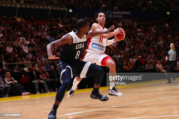 Mychal Mulder of Canada looks to pass the ball during the game against USA on August 26 2019 at Qudos Bank Arena in Sydney Australia NOTE TO USER...