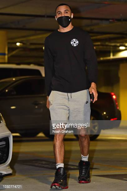 Mychal Mulder of the Golden State Warriors arrives to the arena before the game against the Oklahoma City Thunder on April 8, 2021 at Chase Center in...