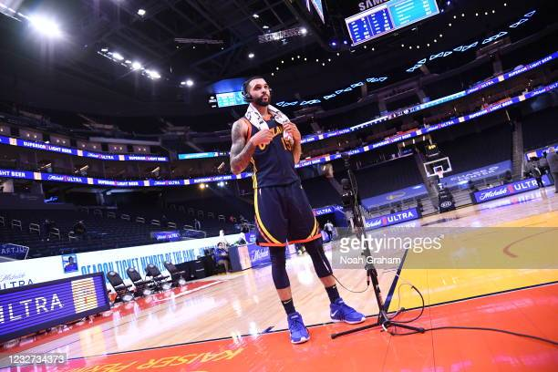 Mychal Mulder of the Golden State Warriors is interviewed after the game against the Oklahoma City Thunder on May 6, 2021 at Chase Center in San...