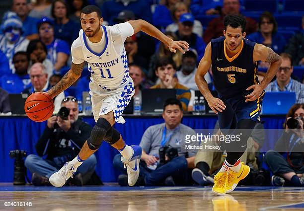 Mychal Mulder of the Kentucky Wildcats brings the ball up court during the game against the Canisius Golden Griffins at Rupp Arena on November 13...