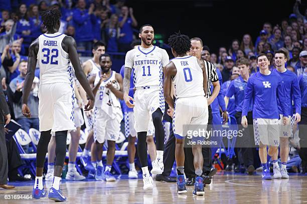 Mychal Mulder of the Kentucky Wildcats reacts after a threepoint basket against the Auburn Tigers in the first half of the game at Rupp Arena on...