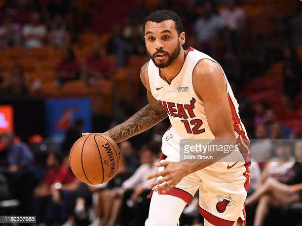 Mychal Mulder of the Miami Heat in action against the San Antonio Spurs during the second half of the preseason game at American Airlines Arena on...