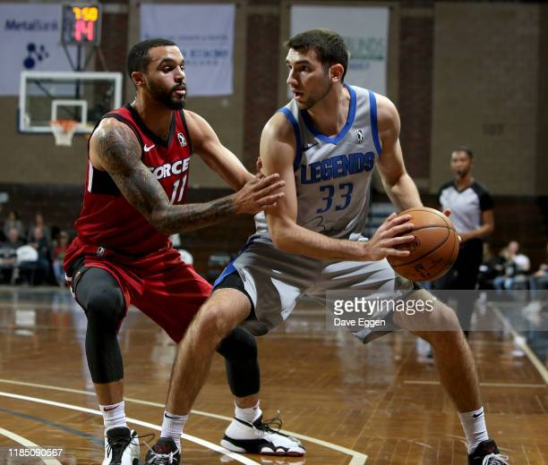 Mychal Mulder of the Sioux Falls Skyforce applies pressure to Dakota Mathias of the Texas Legends during an NBA GLeague game on November 27 2019 at...
