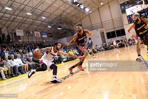 Mychal Mulder of the Sioux Falls Skyforce drives with the ball against the Santa Cruz Warriors during an NBA GLeague game on January 31 2020 at the...