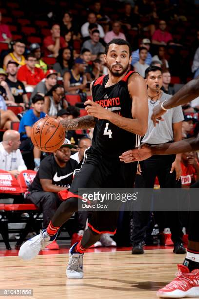 Mychal Mulder of the Toronto Raptors handles the ball during the game against the New Orleans Pelicans during the 2017 Las Vegas Summer League on...