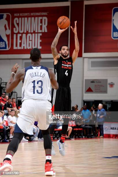 Mychal Mulder of the Toronto Raptors shoots the ball during the game against the New Orleans Pelicans during the 2017 Las Vegas Summer League on July...