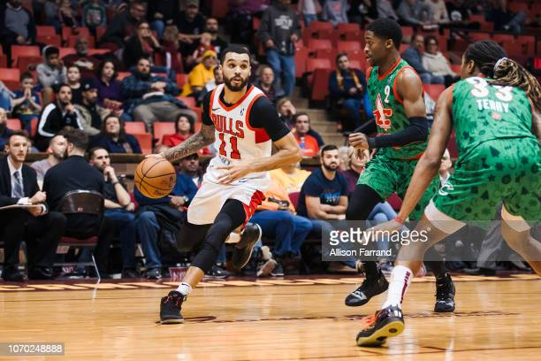 Mychal Mulder of the Windy City Bulls drives with the ball against Kobi Simmons of the Canton Charge on December 8 2018 at the Canton Memorial Civic...