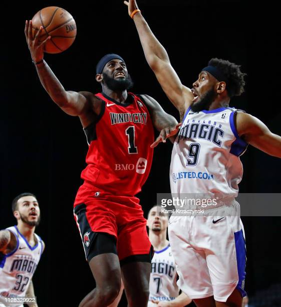 Mychal Mulder of the Windy City Bulls goes to the basket against Reggis Onwaukamuche of the Lakeland Magic during the second half of an NBA GLeague...