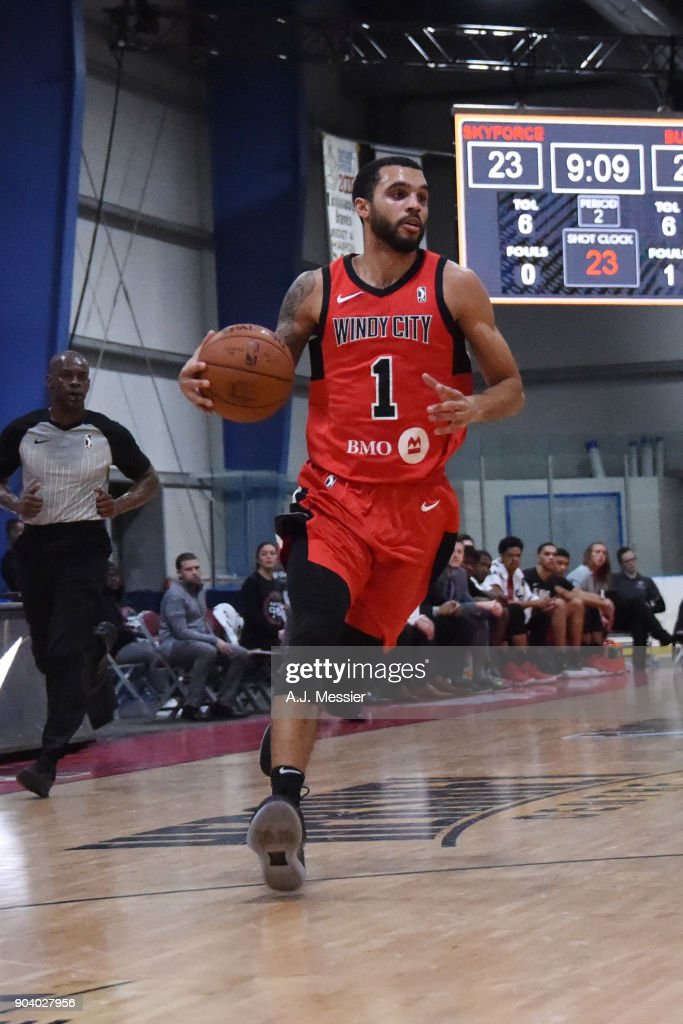 Mychal Mulder #1 of the Windy City Bulls handles the ball during the game against the Sioux Falls Skyforce at the NBA G League Showcase Game 13 on January 11, 2018 at the Hershey Centre in Mississauga, Ontario Canada.