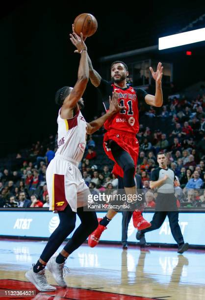 Mychal Mulder of the Windy City Bulls passes the ball over Jaron Blossomgame of the Canton Charge during the first half of an NBA GLeague game on...