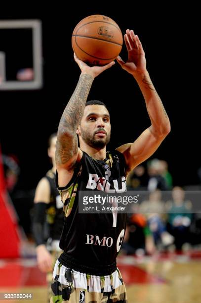 Mychal Mulder of the Windy City Bulls shoots a free throw against the Memphis Hustle on March 17 2018 at the Sears Centre Arena in Hoffman Estates...