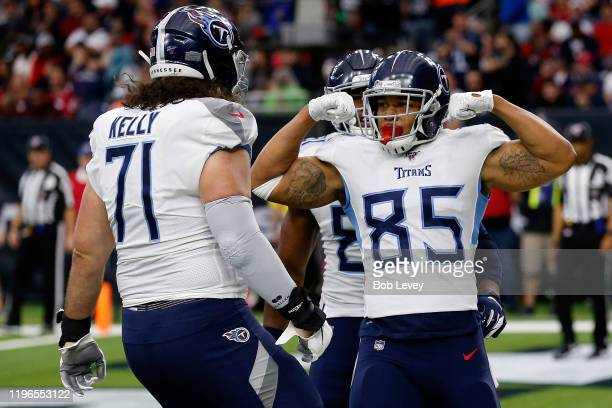 MyCole Pruitt of the Tennessee Titans celebrates a touchdown during the second quarter against the Houston Texans at NRG Stadium on December 29 2019...