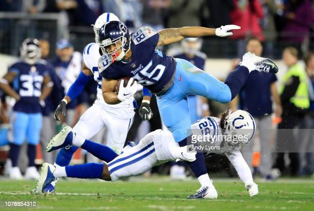 MyCole Pruitt of the Tennessee Titans runs with the ball against the Indianapolis Colts at Nissan Stadium on December 30 2018 in Nashville Tennessee