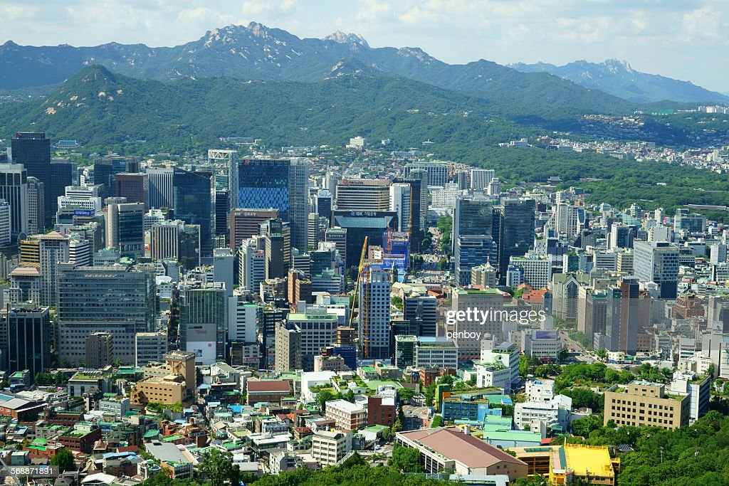 Myeongdong district in Seoul : Stock Photo