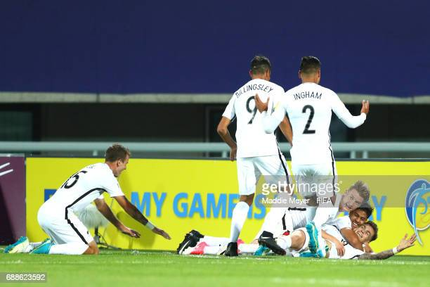 Myer Bevan of New Zealand celebrates with James McGarry Dane Ingham and Noah Billingsley after scoring the teams third goal during the FIFA U20 World...
