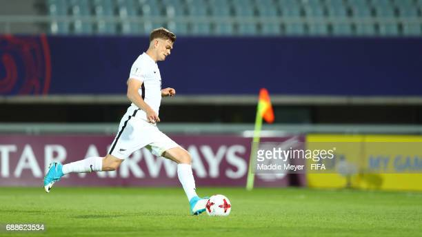 Myer Bevan of New Zealand hits a penalty kick during the FIFA U20 World Cup Korea Republic 2017 group E match between New Zealand and Honduras at...