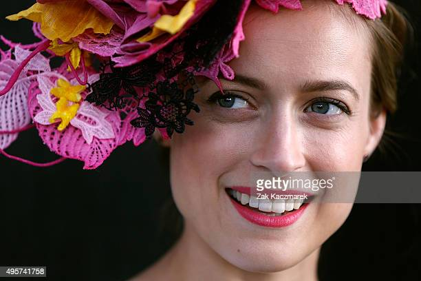 Myer Fashions on the Field 2015 National winner Emily Hunter smiles on Crown Oaks Day at Flemington Racecourse on November 5 2015 in Melbourne...