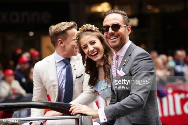 Myer Fashions on the Field Ambassador Rebecca Harding and Donny Galella take part in the 2017 Melbourne Cup Parade on November 6 2017 in Melbourne...