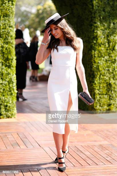 Myer Fashions on the Field Ambassador Rebecca Harding poses at The Park on AAMI Victoria Derby Day at Flemington Racecourse on November 4 2017 in...