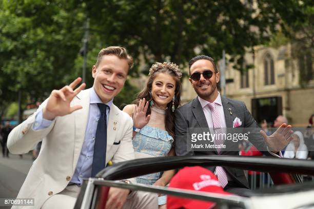 Myer Fashions on the Field Ambassadors Rebecca Harding and Dalton Graham and Donny Galella pose during the 2017 Melbourne Cup Parade on November 6...